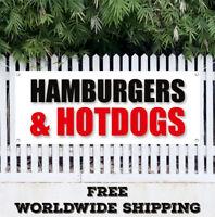 Banner Vinyl HAMBURGERS HOTDOGS Advertising Sign Flag Burger Grilled Fast Food