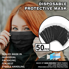 [Individually Wrapped] 50 Pcs BLACK Disposable Face Mask 3-Ply Non Medical Cover