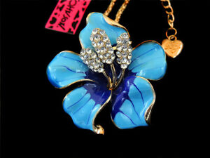 Betsey Johnson Blue Crystal Bauhinia Flower Pendant Necklace Sweater Chain