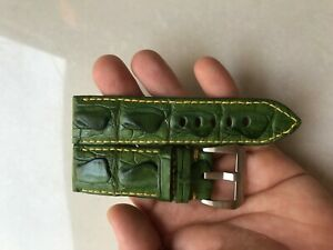 26mm Genuine Green Hornback ALLIGATOR,CROCODILE LEATHER SKIN WATCH STRAP BAND