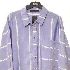 M&S Marks Blue Ladies Soft Modal Striped Relaxed Fit Blouse Top Shirt s14 BNWT