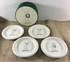 "Set of 4 Cordon Bleu Rudy The Reindeer Christmas Holiday 6"" Plates w Storage Box"