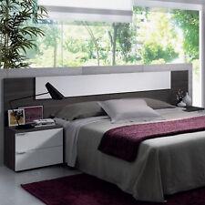 Cabezal con 2 mesitas color blanco y gris ceniza para camas de 135cm o 150cm
