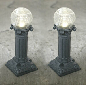 2x Large Crackle Globe Roman Column Lantern Garden Path/border Stake Lights 30cm