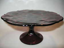 Amethyst purple Glass cake serving stand plate platter pedestal thistle wedding