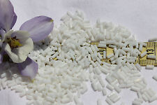 White Opaque 4mm Straight Vintage Venetian Glass Bugle Beads 1oz