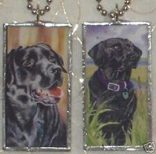 BLACK LABRADOR DOG  ART GLASS PENDANT
