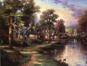 Hometown Lake by Thomas Kinkade  S/N