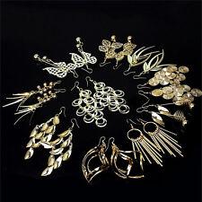 Hot Sale 10 Pairs Women Girls Gold Mixed Styles Hook Dangle Earrings Eardrop SLG