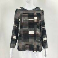 Marni Womens Blouse Multicolor Gray Patchwork Long Sleeve Scoop Neck Zip 12/42