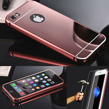 IPHONE PACK - COQUE HOUSSE METAL BUMPER MIROIR  + FILM VERRE TREMPÉ PORTECTION