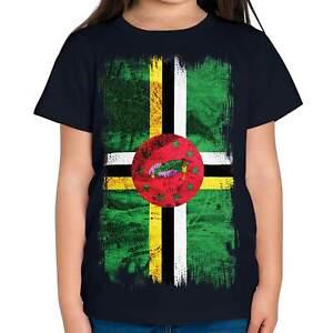 DOMINICA GRUNGE FLAG KIDS T-SHIRT TEE TOP DOMINICAN SHIRT FOOTBALL JERSEY GIFT