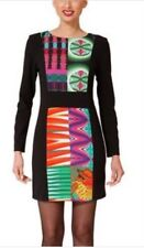 New Desigual Geometric Print Evanon Dress 36 Pattern Panel Long Sleeve Black