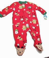 New Carters Blanket Footed Red MY FIRST CHRISTMAS Pajamas 6/9 M One Piece Zip