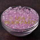 25pcs 6mm Cube Square Faceted Crystal Glass Loose Spacer Beads Pink