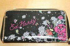 ED HARDY Christian AUDIGIER Womens Wallet Black Multicolor Floral Graphic
