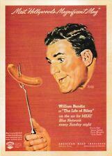 postcard MEAT 🌭 Vintage style advertising #37 William Bendix Hollywood