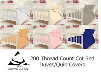 Cot Bed Duvet Quilt Cover Set With Pillow Case 200 Thread Count 100% Cotton