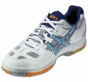 Mens Asics Gel-Tactic B302N-0141 Court Shoe White / Blue / Lightning