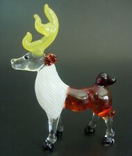 Glass REINDEER DEER Tinted Glass Animal Glass Ornament Curio Display Figure Gift