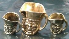 More details for vintage set of 3 miniature metal toby jugs in brass finish