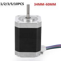 1~10X 42MM NEMA 17 Stepper motor 1.8° 4-wires 34~60mm 1.5A Fr CNC 3D printer LOT