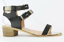 DV By Dolce Vita Women's Black Leather Zinc Ankle Strap Sandal Size 8