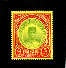 More details for trengganu:1938, gvi $5 green & red/yellow wmk mscriptca,sg 44,cat£500