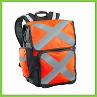 Caribee Pilbara 34L Hi-Vis Orange Backpack DayPack Reflect Visibility Travel Bag