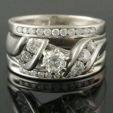 Solid 14K White Gold 1.14 ct. Diamond Wedding, Estate Engagement Ring Set, NR!