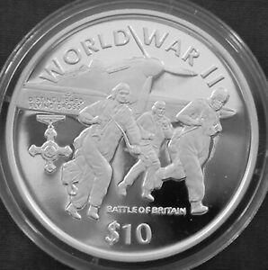Liberia 10$ Silver Proof 1997 World War II Battle of Britain