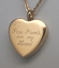 PAW PRINTS ON MY HEART GOLD CREMATION URN NECKLACE URN PET CREMATION JEWELRY
