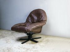 1970's mid century Danish leather reclining lounge chair