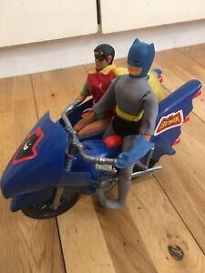 Vintage 1974 Mego Corp New York Batman & Robin and Batcycle Motorbike Side Car
