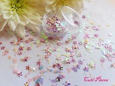 NAIL ART BIANCO Shimmer * Saturn * MYLER Fiocchi Rosa Stella Mix POT Spangle Glitter