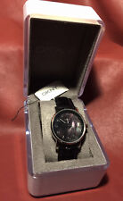 DKNY Woman's Watch Black Abalone Face Black Alligator Leather Band NY4755 w/Box