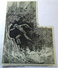 1886 magazine engraving ~ DOWN IN A TUNNEL-SPOUT Man climbs into cliffside cave