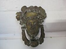 ANTIQUE VINTAGE HEAVY BRASS DOO0R KNOCKER FEMALE HEAD WITH CARTOUCHE