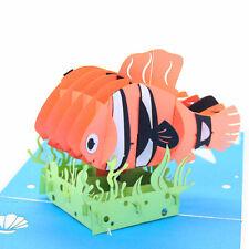 Handmade 3D Clown Fish Pop Up Birthday Card UK Seller