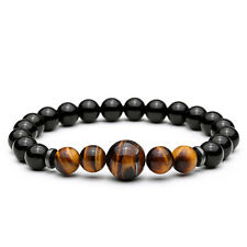 2017 Handmade Men's 8MM Black Agate Tiger Eyes Beaded Charms Bracelet For Gifts