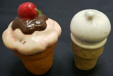 Chocolate Vanilla Ice Cream Cone Cherry Dairy Queen Salt and Pepper Shakers