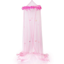 Princess Bed Canopy w Sparkly Hearts Feather Boa Mosquito Netting