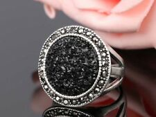 Black Broken Stone Antique Silver Plated Cocktail Ring Size 10 Statement Jewelry