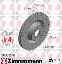 SATZ 2x ATE Bremsscheibe AUDI A8 4E 3D VW PHAETON