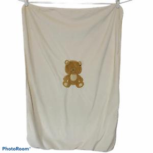 Baby Starters Cream Tan Blanket Embroidered Light Brown Teddy Bear 3D Ears Lovey