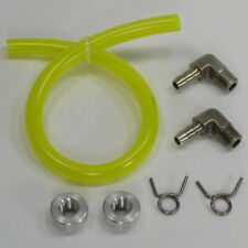 NICKEL Oil Bag Gas Tank Gauge Sight Window YELLOW Fuel Line ALUMINUM Bungs USA