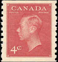 Stamp Canada Mint 1950 F-VF Scott #300 4c King George VI Coil Never Hinged