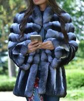 Women's 100% Real Rex Rabbit Fur Coat Fashion Chinchilla Overcoat Warm Outerwear
