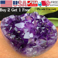 Natural Raw Amethyst Quartz Geode Druzy Crystal Cluster Healing Specimen Decor %