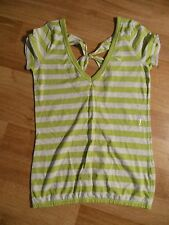 Abercrobie & Fitch Striped Deep V neck Short Sleeve Shirt Knit Top Size L NWT
